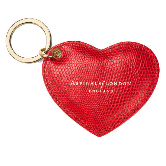 Heart Key Ring in Berry Lizard from Aspinal of London