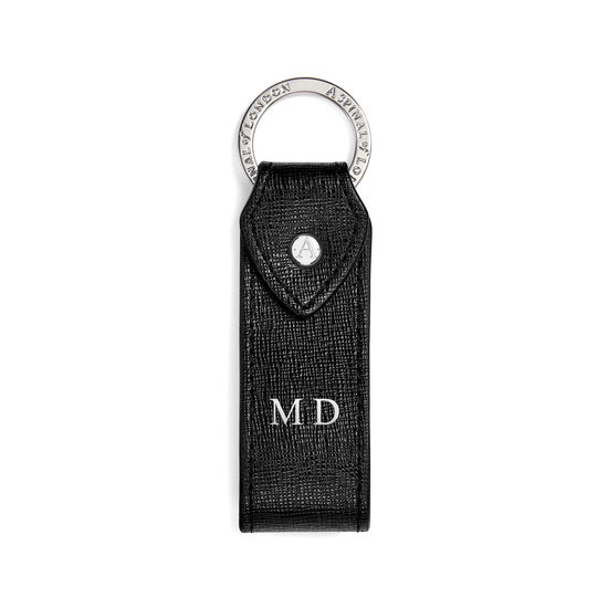 Leather Loop Keyring in Black Saffiano from Aspinal of London
