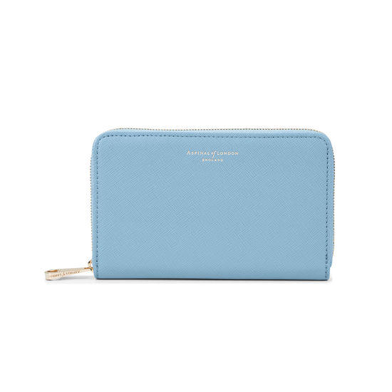 Midi Continental Clutch Zip Wallet in Bluebird Saffiano from Aspinal of London