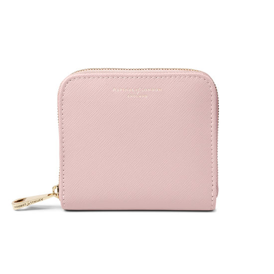 Slim Mini Continental Purse in Peony Saffiano from Aspinal of London