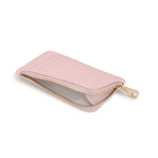Small Zipped Coin Purse in Peony Saffiano from Aspinal of London