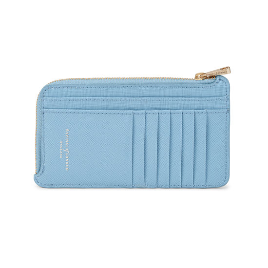 Large Zipped Coin Purse in Bluebird Saffiano from Aspinal of London