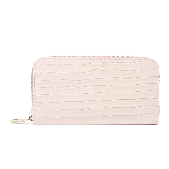 Continental Clutch Zip Wallet in Deep Shine Shell Pink Small Croc from Aspinal of London