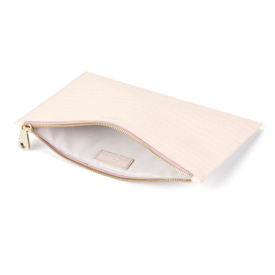 Large Essential Flat Pouch in Deep Shine Shell Pink Small Croc from Aspinal of London