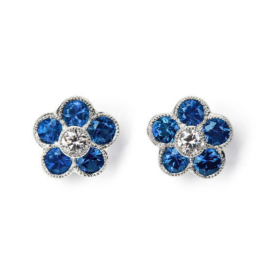 Athena 18ct White Gold Sapphire & Diamond Cluster Stud Earrings from Aspinal of London