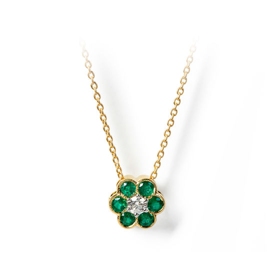 Athena 18ct Gold Emerald & Diamond Cluster Pendant Necklace from Aspinal of London