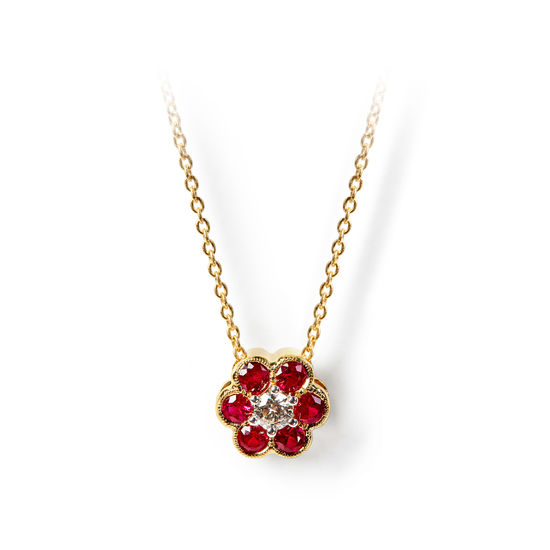 Athena 18ct Gold Ruby & Diamond Cluster Pendant Necklace from Aspinal of London