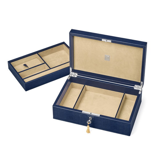Savoy Jewellery Box in Midnight Blue Lizard from Aspinal of London