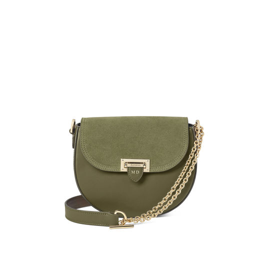 Portobello Bag in Smooth Olive with Olive Suede from Aspinal of London