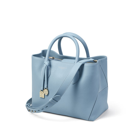 Midi London Tote in Bluebird Pebble from Aspinal of London