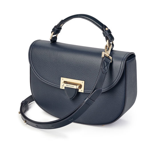 Letterbox Saddle Bag in Navy Pebble from Aspinal of London