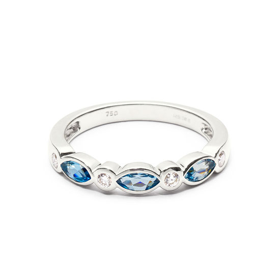 Selene 18ct White Gold Marquise Aquamarine & Diamond Ring from Aspinal of London