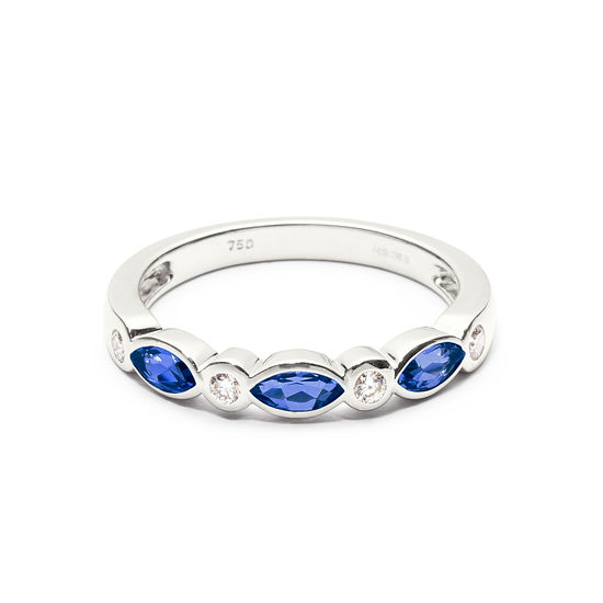 Selene 18ct White Gold Marquise Sapphire & Diamond Ring from Aspinal of London