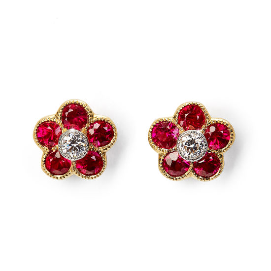 Athena 18ct Gold Ruby & Diamond Cluster Stud Earrings from Aspinal of London