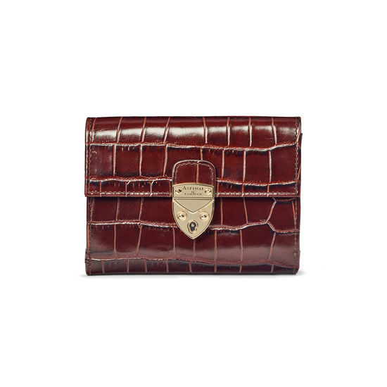 Small Mayfair Purse in Deep Shine Amazon Brown Croc from Aspinal of London