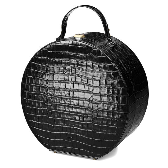 Large Hat Box in Deep Shine Black Croc from Aspinal of London