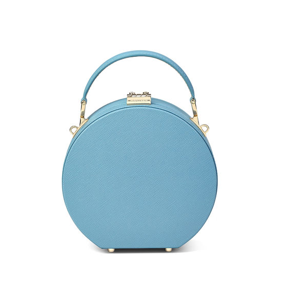 Mini Hat Box Bag in Bluebird Saffiano from Aspinal of London