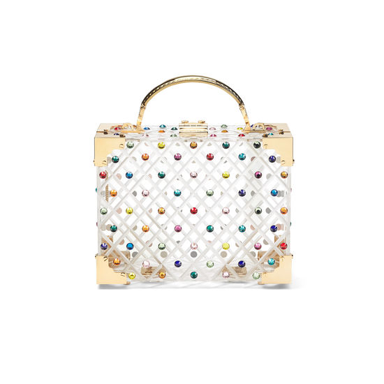 Mini Trunk Clutch in Diamond Cut Transparent Acrylic with Candy Crystals from Aspinal of London