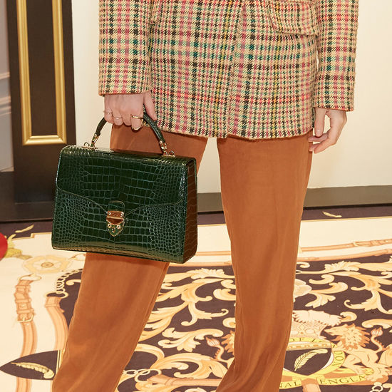 Mayfair Bag in Evergreen Patent Croc from Aspinal of London