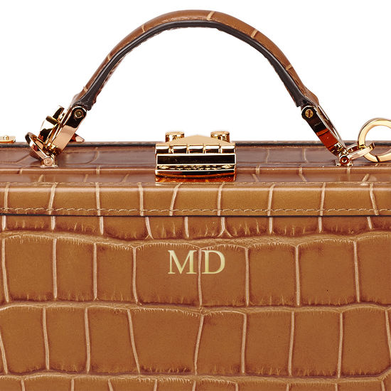 Mini Trunk Clutch in Deep Shine Vintage Tan Croc from Aspinal of London
