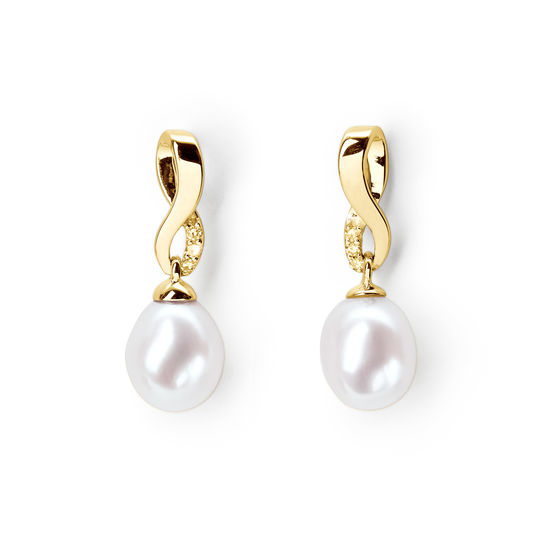 Solstice 18ct Gold Freshwater Pearl & Diamond Earrings from Aspinal of London