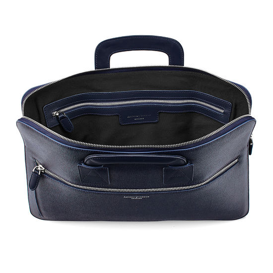 Connaught Document Case in Navy Saffiano from Aspinal of London
