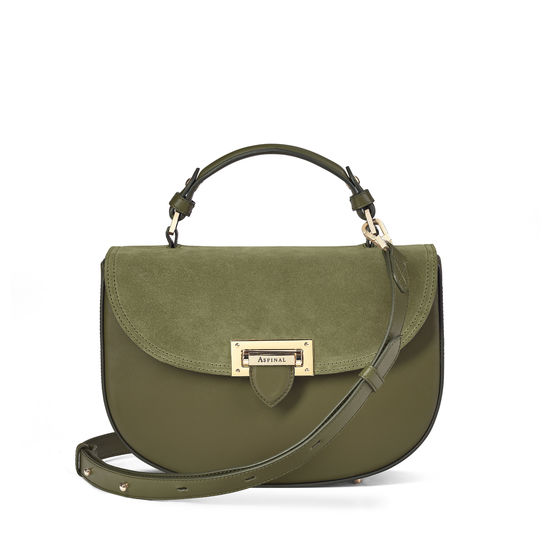 Letterbox Saddle Bag in Smooth Olive with Olive Suede from Aspinal of London