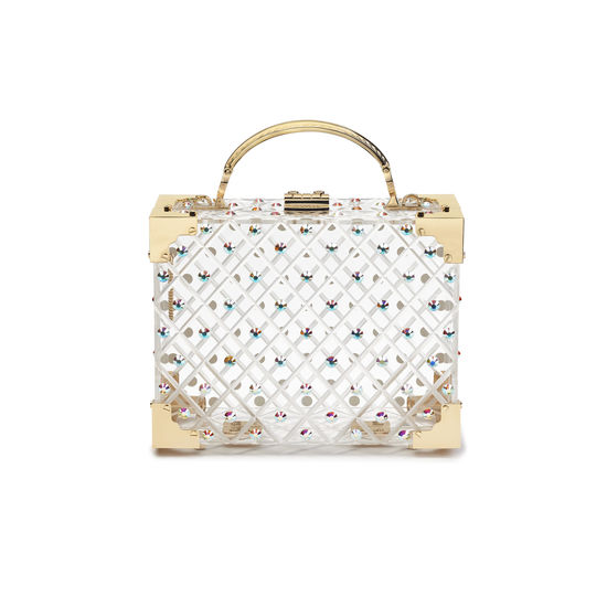 Mini Trunk Clutch in Diamond Cut Transparent Acrylic with Gold Crystals from Aspinal of London