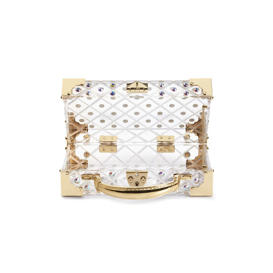 Trinket Box in Diamond Cut Transparent Acrylic with Gold Crystals from Aspinal of London