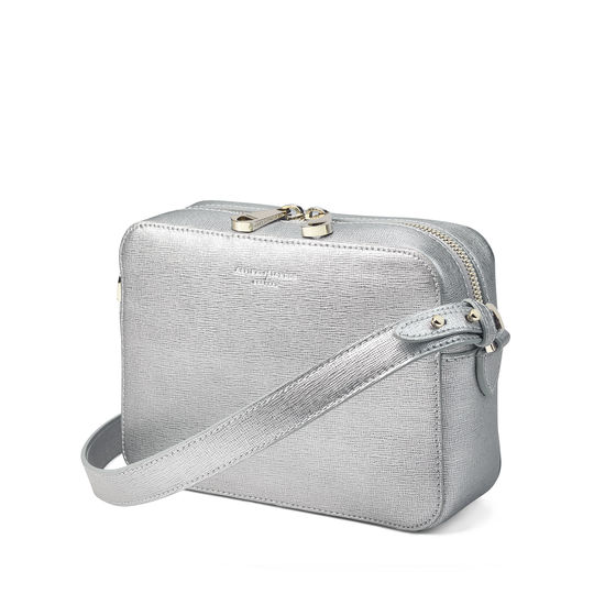 Camera Bag in Silver Saffiano from Aspinal of London