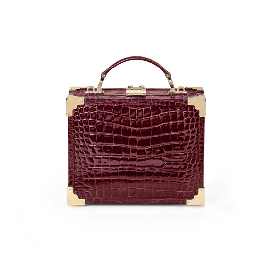 Mini Trunk Clutch in Bordeaux Patent Croc from Aspinal of London