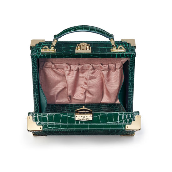 Mini Trunk Clutch in Evergreen Patent Croc from Aspinal of London