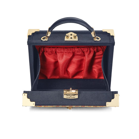 Mini Trunk Clutch in Navy Kaviar with Tudor Embroidery from Aspinal of London