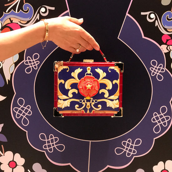 Mini Trunk Clutch in Deep Shine Red Croc with Rosette Embroidery from Aspinal of London