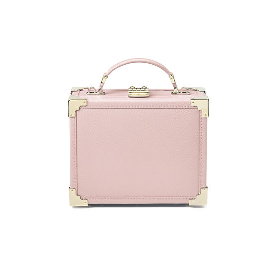 Mini Trunk Clutch in Peony Saffiano from Aspinal of London