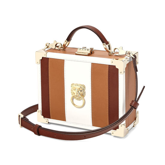Lion Mini Trunk Clutch in Smooth Tan, Ivory & Redwood from Aspinal of London
