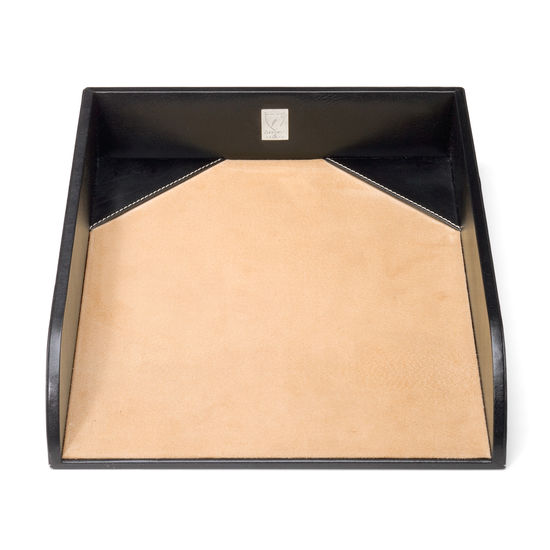Paper Tray in Smooth Black & Stone Suede from Aspinal of London