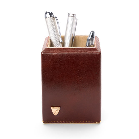 Square Pen Pot in Smooth Cognac & Stone Suede from Aspinal of London