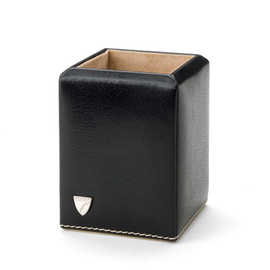 Square Pen Pot in Smooth Black & Stone Suede from Aspinal of London