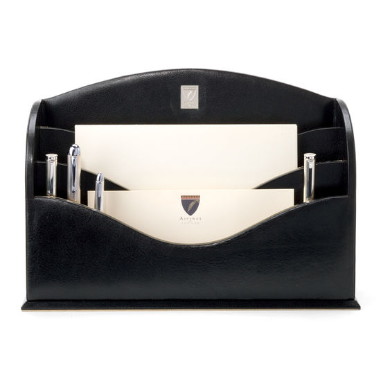 Chairman's Desk Set in Smooth Black & Stone Suede from Aspinal of London