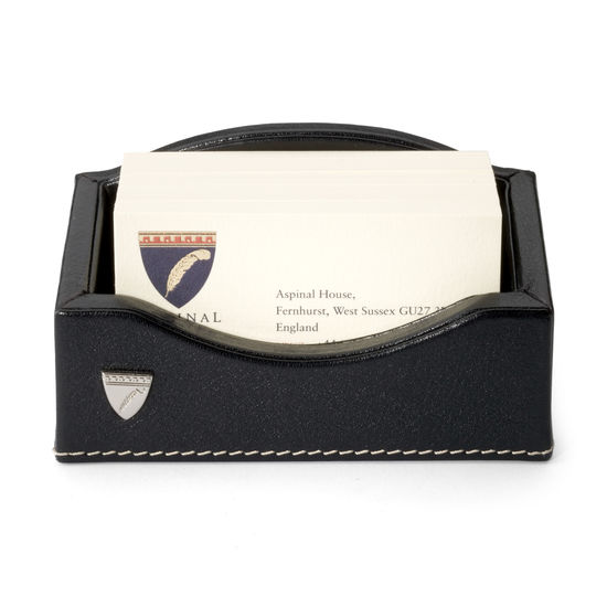 Business Card Holder in Smooth Black & Stone Suede from Aspinal of London