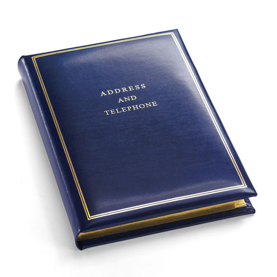 Classic Large Address Book in Smooth Sapphire Blue from Aspinal of London