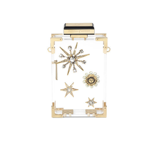 Crystal Star Clutch in Transparent Acrylic with Sun & Stars from Aspinal of London