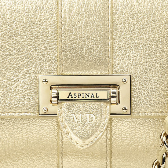 Micro Lottie Bag in Pale Gold Pebble from Aspinal of London