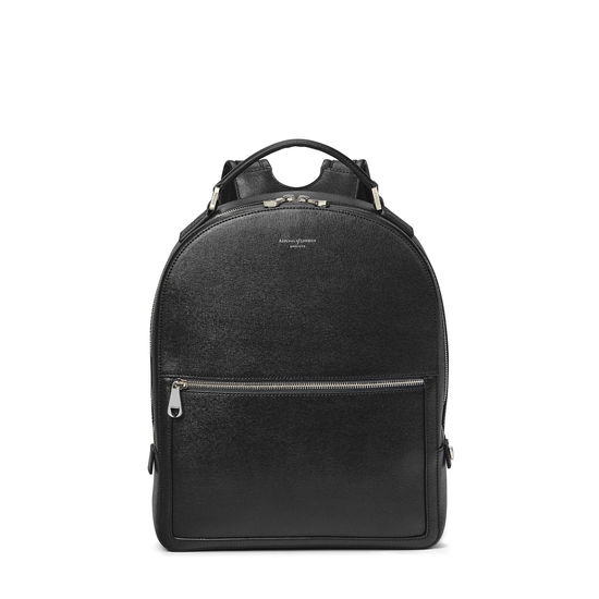 Medium Mount Street Backpack in Black Saffiano from Aspinal of London