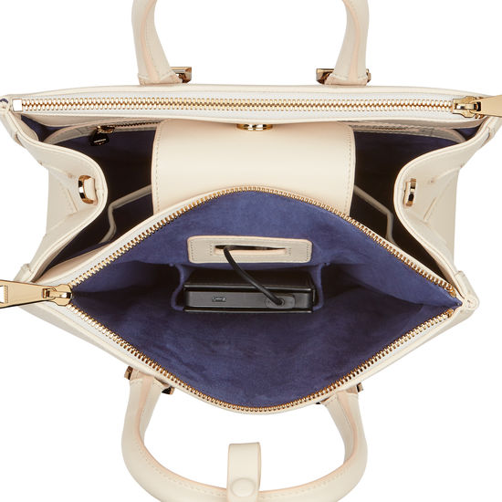 Midi Madison Tote in Ivory Saffiano from Aspinal of London