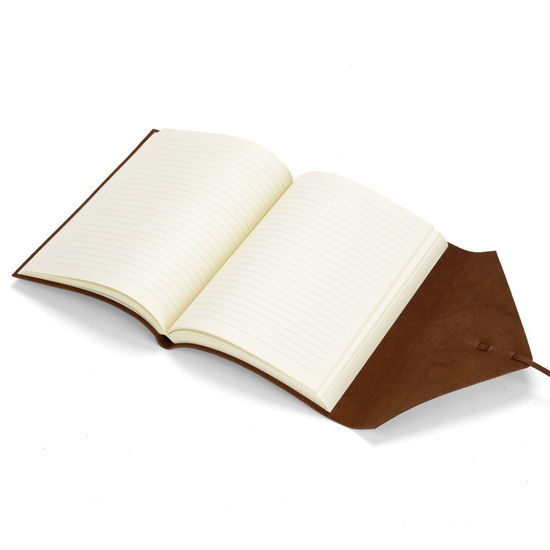 Envelope Wrap Pocket Notebook in Antique Brown with Plain Pages from Aspinal of London