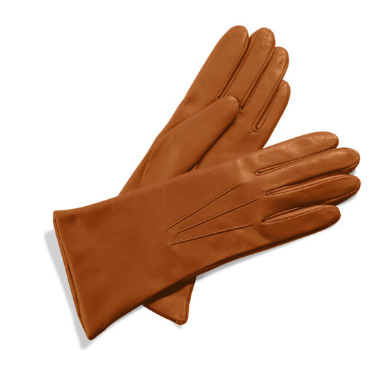 Ladies Cashmere Lined Leather Gloves in Tan from Aspinal of London