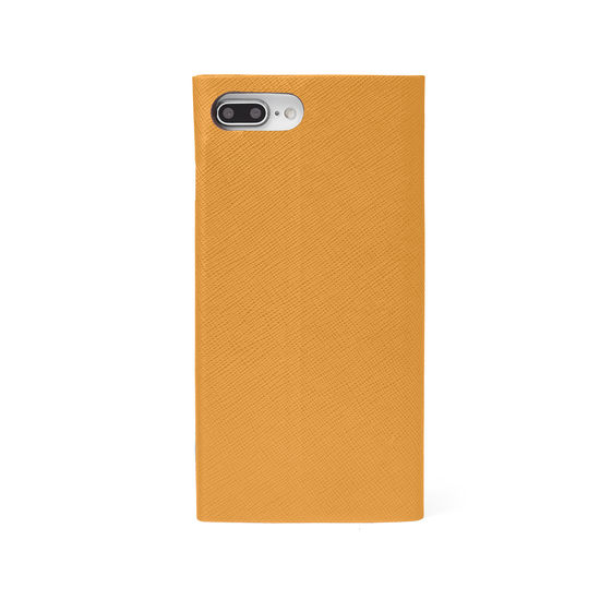 iPhone 7 Plus Leather Book Case in Mustard Saffiano from Aspinal of London
