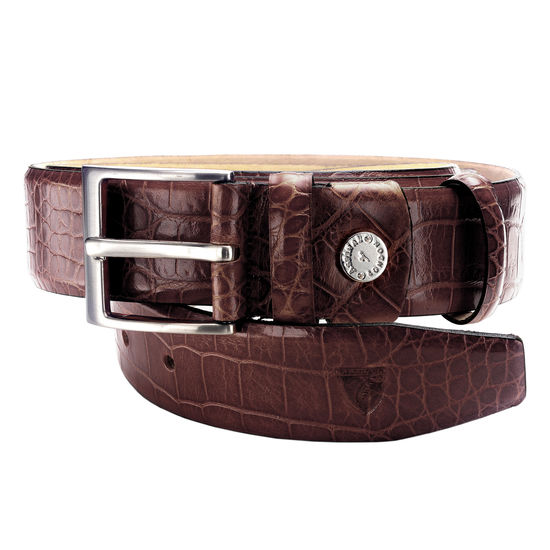 Classic Men's Belt in Deep Shine Amazon Brown Croc from Aspinal of London